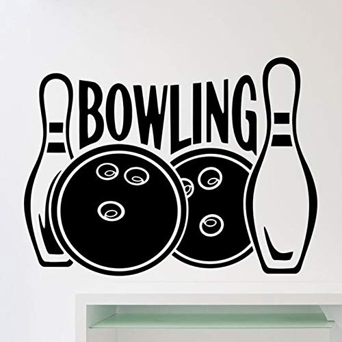 Bowling Logo Wandtattoos Kegel Freizeit Sport Club Innentüren und Fenster Fenster Vinyl Aufkleber abnehmbare Kunst Tapete 42x56 cm