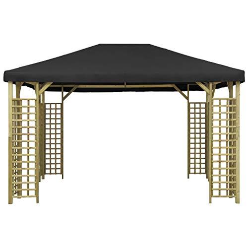 Lechnical Gazebo da Giardino Tendone da Giardino, Gazebo in Legno massello di Pino, Waterproof UV Protection Pavilion Garden Tent Party Tent 4x3 m Antracite