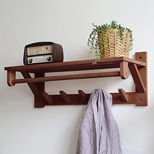 Perchero de pie Rack de la capa de pared de madera de madera, percha que puede soportar 20kg, estante de almacenamiento de pared multifuncional, soporte de pared de pintura ecológica, percha de almace