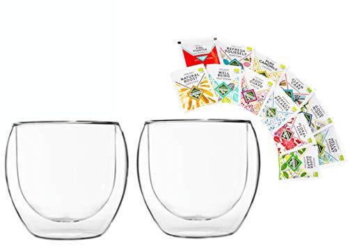 Feelino 2x 310ml Jumbo doppelwandiges Thermoglas + 12x verschiedene Bio-Teebeutel