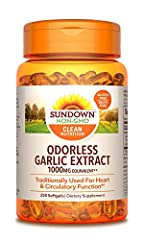 Made with odorless garlic extract. Traditionally used for heart & circulatory function.* Free of artificial color, flavor, and sweeteners Does not contain gluten, wheat, lactose, fish, sodium, starch, milk, and sugar. ALL Sundown products are labeled...