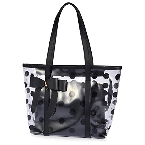 ABLE Women's Clear Tote Bags Multi-Use Shoulder Handbag Beach Shopping Bag (1-Black)