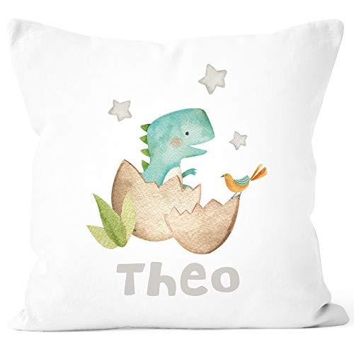 SpecialMe® Kissen-Bezug mit Namen Wunschname Dino Dinosaurier T-Rex Tiermotiv Namenskissen Kinder Baby T-Rex weiß Unisize