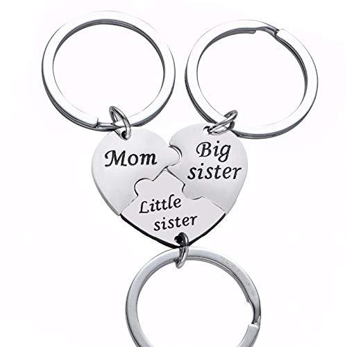 SZLGPJ 3 PC/Set Big Little Key Chain Ring For Women Girl Stainless Steel Keychain Family Keyring