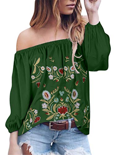 Women's Sexy Off The Shoulder Tops Long Sleeve Boho Floral Embroider Casual Blouse Shirt (XXL, Green)