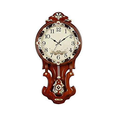A-GHM Clock Retro Wall Clock Battery Operation Silent Non-tick Creative Decorative Wooden Wall Clock for Living Room Bedroom 3D