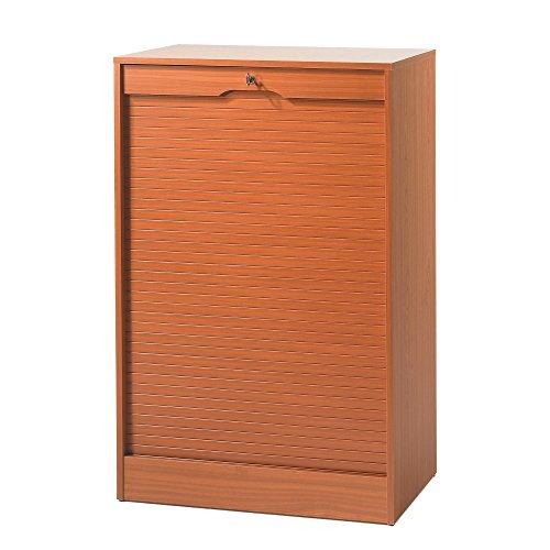 SIMMOB MATHA Classeur à Rideau Large Hauteur 108 cm - Coloris - Merisier, Bois, 44x70,1x108,4 cm