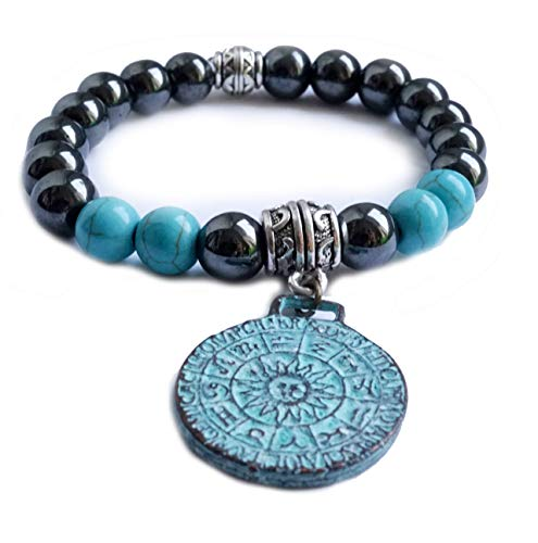 Edelstein Armband Türkis + Hämatit mit Sternzeichen Sonnenscheibe – Yoga Spiritualität Esoterik Astrologie Blutstein