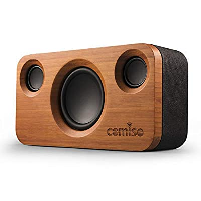 COMISO 30W Bluetooth Speakers, Dual-Driver Wireless Bluetooth Home Bamboo Wood Stereo Speaker with 20W HD Sound, 10W Subwoofer, Bold Bass, Long Playtime for Echo Dot, iPhone, Samsung, iPad (Grey) by COMISO