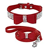 NC Bling Bowknot Suede Leather Rhinestone Dog Collarand Leash Set Pet Puppy Cat Chihuahua Collars for Small Medium Dogs Cats Pink