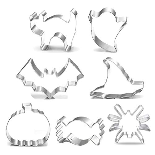 Halloween Cookie Cutters, 7 Piece - Spider, Candy, Pumpkin, Bat, Ghost, Cat and Witch Hat Shapes for Halloween Party Treat, Decoration