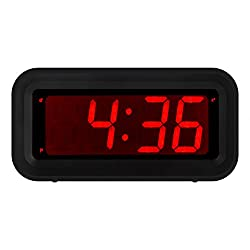 KWANWA LED Digital Alarm Clock Battery Operated Only Small for Bedroom/Wall/Travel with Constantly Big Red Digits Display