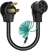 Cleyean Dryer Adapter 4 Prong to 3 Prong Dryer Plug Adapter Cord NEMA 10-30P to 14-30R, 30Amp, 250V, STW 10-AWG, External Green Ground Wire