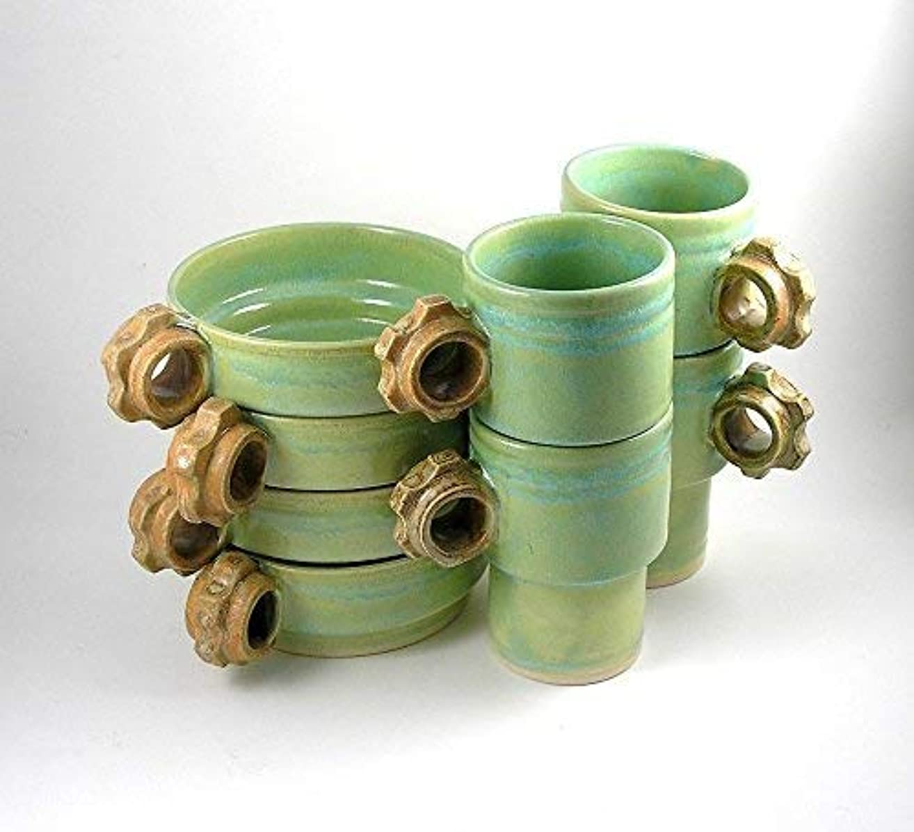 Coffee Cups, mugs and Soup, pasta, cereal Bowls in Chartreuse and Rust Stackable set of 8 four of each