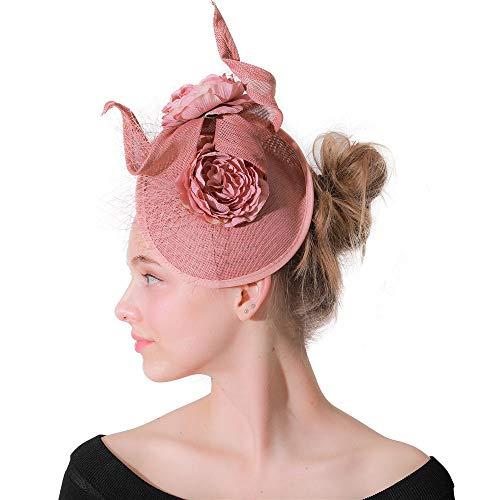 JTRHD Stirnband Fascinator Bezaubernde Blumen-Turban Mesh Mesh-Haar-Band-Cocktail-Party-Hut für Hochzeitscocktail Tea Party (Farbe : Rosa, Size : Free Size)