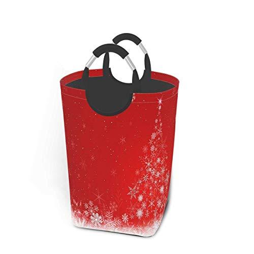 NA Canasta de lavandería con Copo de Nieve y árbol de Navidad con Asas Organizador Plegable Grande Cesto de lavandería para habitación de niños Ropa Sucia Juguetes