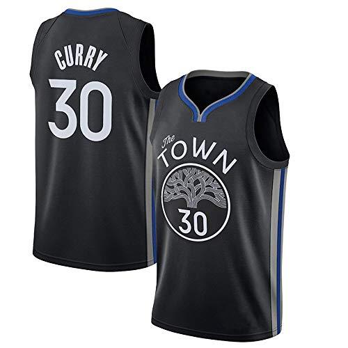 Camiseta De Baloncesto para Hombre, NBA Golden State Warriors 30# Curry Camiseta Malla Moda Retro Gimnasio Bordado Chaleco Tops Deportivos (S-3XL),Negro,XL