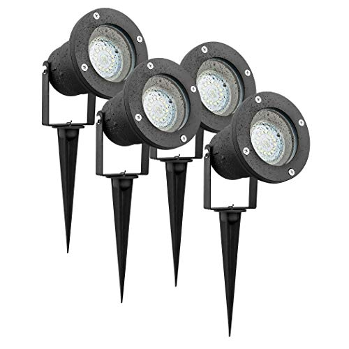 SEBSON LED Gartenleuchte mit Erdspieß und schwenkbaren Strahler, Aussenleuchte IP65, Gartenspot GU10 3,5W 300lm 6500K kaltweiß, 4er Pack