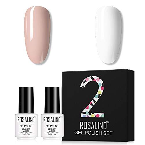 ROSALIND Smalto Semipermanente per Unghie 2pzs Nude Set di Smalti Gel gel Semipermanente Unghie Gel Polish Manicure Nail Art Kit 7ml