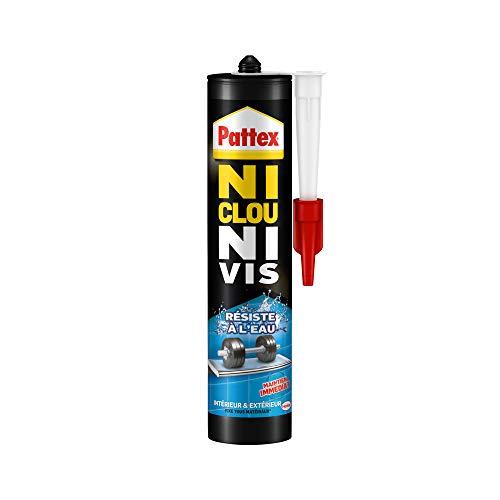 Pattex Ni Clou Ni Vis Résiste à l'eau, colle de fixation surpuissante, colle blanche, colle rapide pour bois, céramique, métal, béton et plus, cartouche 450 g