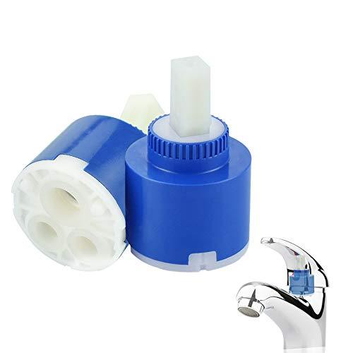 KLYNGTSK 2 Stück 40 mm Wasserhahn Ventil Wasserhahn Kartusche Keramik Cartridge Mischbatterie Ventil Wasserhahn Ersatz Kartusche für Küche Badezimmer