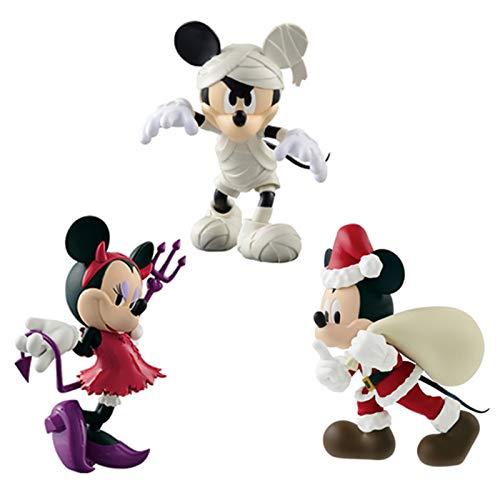 3Pcs/Set Minnie Mickey Mouse Action Figure Toys Santa Mickey Halloween Devil Minnie Mummy Mickey Figuras Collection Decoration Kids Gift