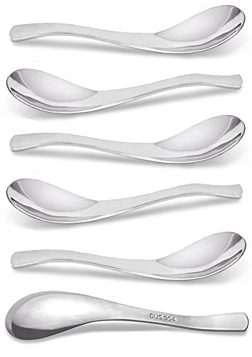 Spoons, Spoons Stainless Steel 18/10, Curry Spoons AOOSY Modern Stylish Thick Heavy-weight Short handle 304 Stainless Steel Table Spoon for Soup Cereals Dips Curry Sauces Stews, Set of 6