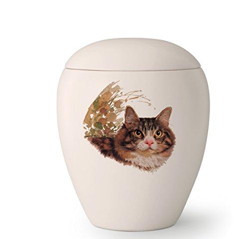 """Tierurne, """"Edition Bianco"""", 0,5 ltr. creme-weiß, Motiv Katze (Katze 1)"""