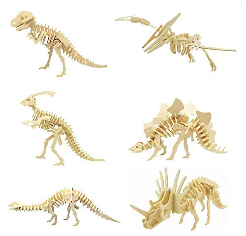 3D Wooden Dinosaur Puzzle - 6 Piece Set Wood Dinosaur Skeleton Model Puzzle - DIY Wooden Crafts 3D Puzzle - STEM Toys Gifts for Kids and Adults