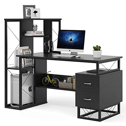 Tribesigns Computer Desk with Drawers, Functional Writing Desk with Corner Tower Shelves Works as Home Office Compact Workstation Desk for Small Space(All Black)