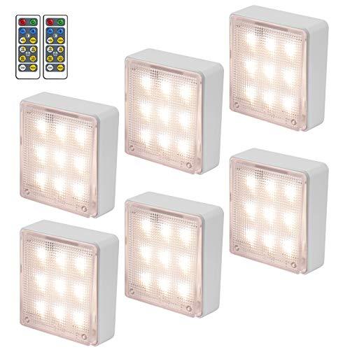 6 x LED SchrankleuchtenDrahtlos Fernbedienung Vier Helligkeit Farbwechsel RGB Schrank Lichter LED Nachtlicht Kabinett Beleuchtung Puck Lichter für Schlafzimmer, Kleiderschrank, Kabinett