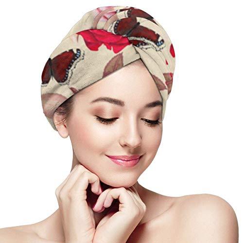 XBFHG Enveloppes De Serviette De Cheveux en Microfibre pour Les FemmesCapuchon De Cheveux Secs Rapides avec Bouton - Rose Abstrait Belles Roses Rouge Antique Beauté Bloom Bouquet Bourgeon