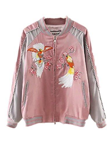 ecollection@ Damen Bomberjacke Bikerjacke Mantel Vintage Bomber Jacket Peacocks Embroidery Classic Zip up Biker Coat (Tag L EU 38, Pink)