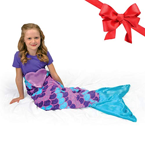 Snuggie Tails Mermaid Blanket- Comfy, Cozy, Super Soft, Warm, All Season, Wearable Blanket for Kids, As Seen on TV (Purple)