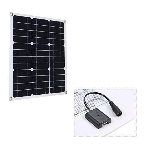 Galapara Módulo de Panel Solar monocristalino, DC5V / DC18V 30W, Salida Dual portátil Cargador de Coche de Interfaz USB IP65 para Acampar al Aire Libre Senderismo Escalada