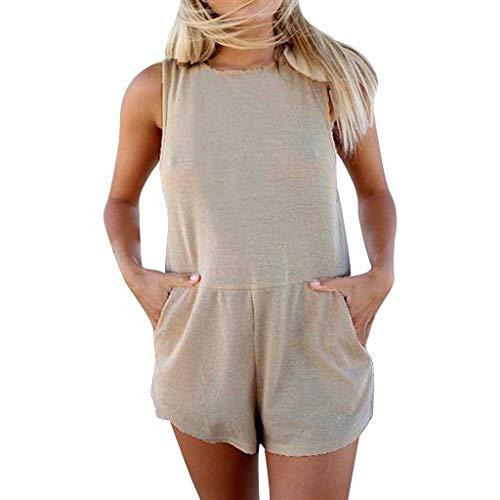 Exteren - overol de manga corta para mujer, sexy, estampado liso, para verano,  Gris, L