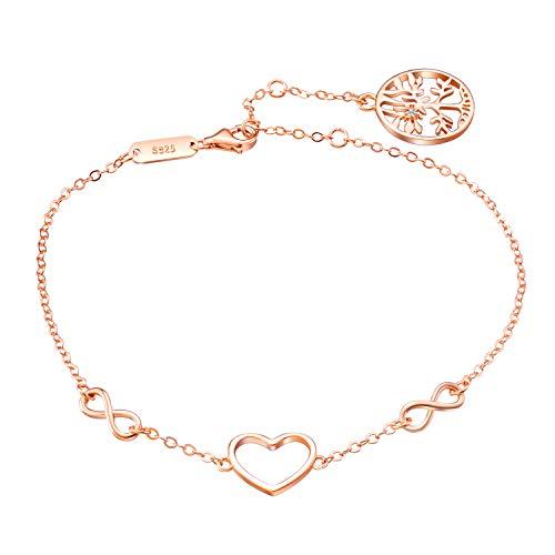 Pulsera de plata de ley 925 con corazón de oro rosa con circonitas, pulsera de plata de ley 925 para mujer y niña, oro rosa, pulsera de corazón, pulsera de plata de ley 925