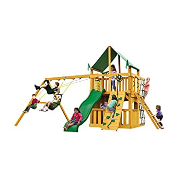Gorilla Playsets Chateau Clubhouse Swing Set with Amber Posts