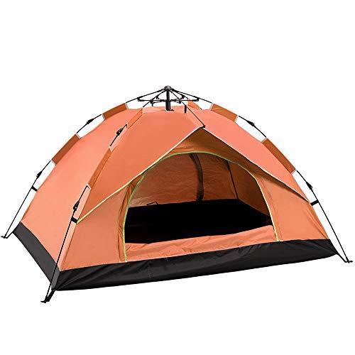 KANGLE-DERI Tende da Campeggio all'Aria Aperta, Completamente Tende Automatiche per 2-4 Persone, A Molla di Apertura Rapida Tende da Sole Antipioggia,Arancia,3~4people