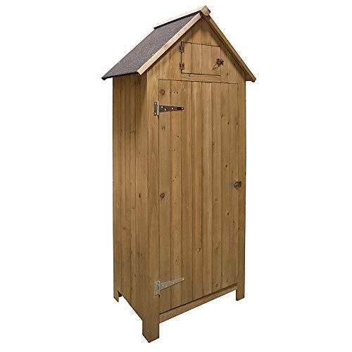 Armadio da giardino o capanno per gli attrezzi, in legno, stile Brighton, per esterni, color legno naturale