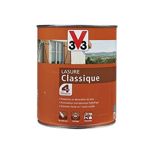 V33 100346 Lasure bois classique 4 ans, Chêne Naturel, 1L