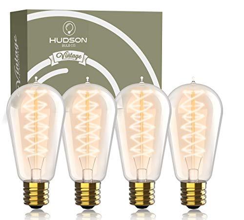 Hudson Vintage Incandescent 6W Edison Light Bulbs (4 Pack) – 2100K Dimmable Warm Lightbulbs 230 Lumens 60W – E26/E27 Base clear glass light bulb – ST58 style tear drop Antique Spiral Filament Bulb Set