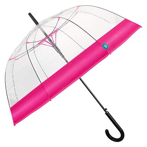 Paraguas Mujer Transparente Banda Colorada - Paraguas Forma a Cúpula Automático - Paraguas Resistente en Fibra de Vidrio - Diámetro 89 cm - Perletti (Rosa Matizado)