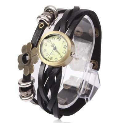 Uhren Mode Blumen-Quarz-Uhr-Armbanduhr mit PU-Lederband Asun (Color : Black)