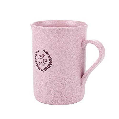Mug Tasses A Café,320Ml avec Paille De Blé Rose Poignée Confortable Couvercle Tasse Réutilisable pour Le Thé, Le Café Ou Le Lait, pour Les Boissons Chaudes Et Froides, pour Le Bureau, La Maiso