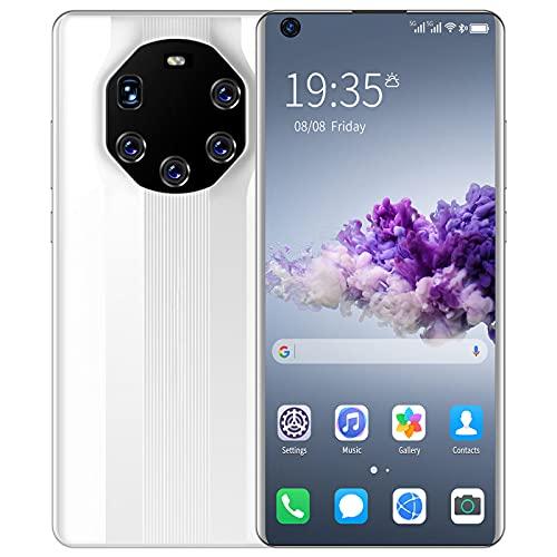 PENNY73 Cámara Ultra HD Teléfono Celular Teléfono Inteligente Mate 40 RS 12GB + 512GB Teléfono Móvil 24MP + 48MP Diseño para Vlog Youtuber Grabación de Video en Vivo Selfie,White