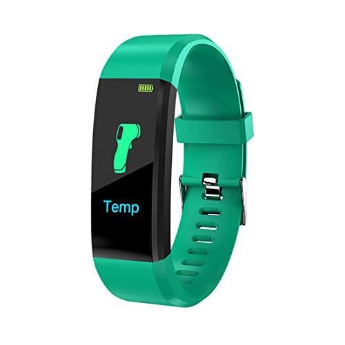 ZSDD Pulsera inteligente 115plus, impermeable IP67, monitor de actividad de presión arterial, medición de temperatura corporal, pulsera deportiva para mujeres y hombres