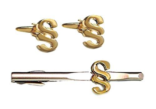 Paragraphen Set Manschettenknöpfe Krawattennadel Knöpfe § vergoldet + Krawattenklammer Paragraph - Jura-Symbol bicolor + Kroko-Setbox