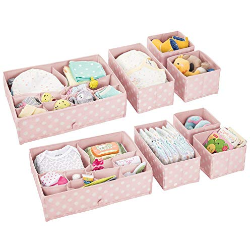 mDesign Soft Fabric Dresser Drawer and Closet Storage Organizer Set for Child/Kids Room, Nursery - Includes Large and Small Organizers - Polka Dot Pattern, Set of 8 - Light Pink/White