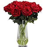 Bringsine Premium Artificial,Touch Pu Silk Rose Fake Flowers Home Decorations for Bridal Wedding Bouquet,Birthday Bunch Hotel Party Garden Floral Decor-Red